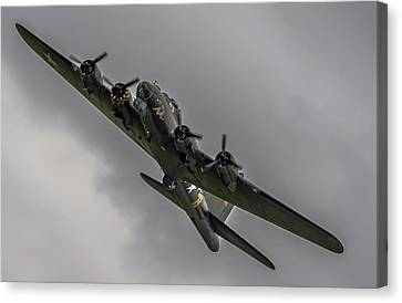 Canvas Print featuring the photograph Raf Scampton 2017 - B-17 Flying Fortress Sally B Turning by Scott Lyons