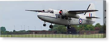 Canvas Print featuring the photograph Raf Scampton 2017 - Hunting Percival P 66 Pembroke Taking Off by Scott Lyons