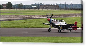 Canvas Print featuring the photograph Raf Scampton 2017 - P-51 Mustang Landing by Scott Lyons