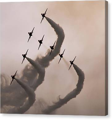 Canvas Print featuring the photograph Raf Scampton 2017 - Red Arrows Preparing For Tornado by Scott Lyons