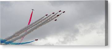 Canvas Print featuring the photograph Raf Scampton 2017 - Red Arrows Tornado Formation by Scott Lyons