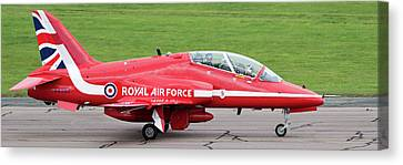 Canvas Print featuring the photograph Raf Scampton 2017 - Red Arrows Xx322 Sitting On Runway by Scott Lyons