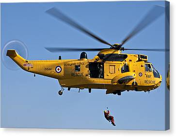 Raf Sea King Search And Rescue Helicopter 2 Canvas Print by Steve Purnell