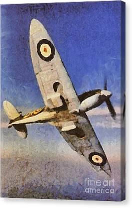 Raf Canvas Print - Raf Spitfire, Wwii by Esoterica Art Agency