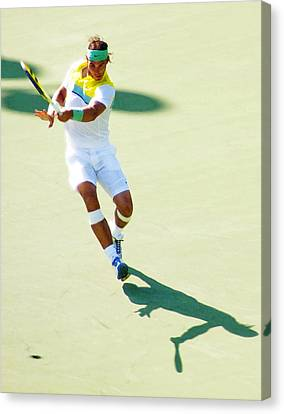 Rafael Nadal Shadow Play Canvas Print by Steven Sparks