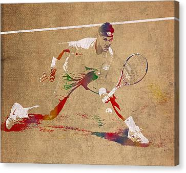 Rafael Nadal Tennis Star Watercolor Portrait On Worn Canvas Canvas Print by Design Turnpike