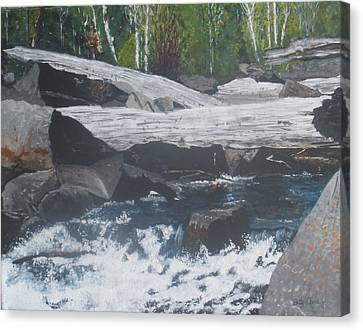 Canvas Print featuring the painting Ragged Falls by Betty-Anne McDonald