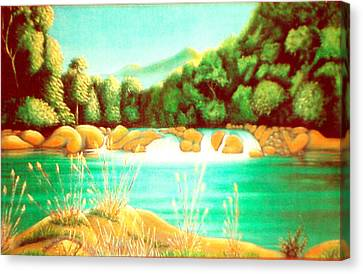 Rai Valley Falls Si Nz Canvas Print by Barbara Stirrup