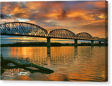 Indiana Landscapes Canvas Print - Railroad Bridge At Sunrise by Steven Ainsworth