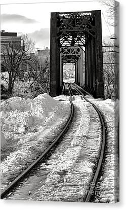 Railroad Bridge In Winter Canvas Print by Olivier Le Queinec