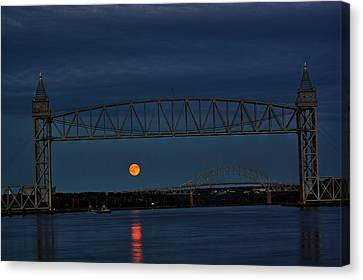 Canvas Print featuring the photograph Railroad Bridge Over A Full Moon by Greg DeBeck