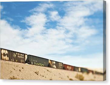 Railroad Cars Canvas Print by Eddy Joaquim