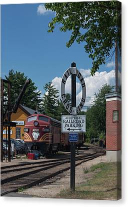 Railroad Crossing Canvas Print by Suzanne Gaff
