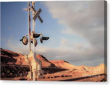 Railroad Crossing Tint Canvas Print by Vance Fox