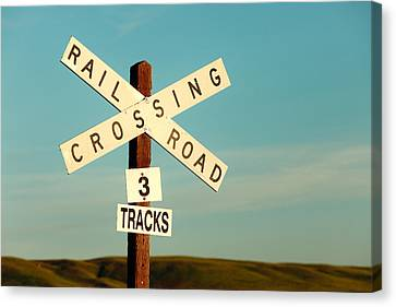 Railroad Crossing Canvas Print by Todd Klassy