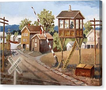 Railroad Crossing Canvas Print by Tony Caviston