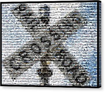 Canvas Print featuring the mixed media Railroad Crossing Trains Mosaic by Paul Van Scott