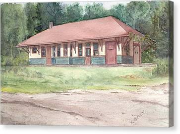 Railroad Depot Canvas Print by Katherine  Berlin