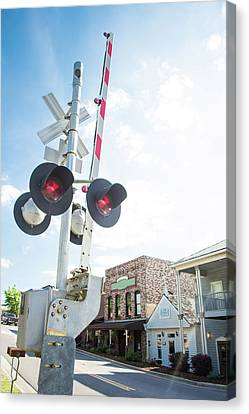 Canvas Print featuring the photograph Railroad Lights In Old Town Helena by Parker Cunningham