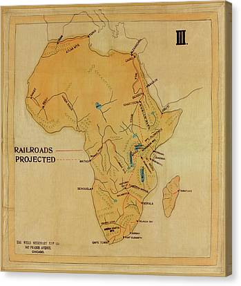 Railroad Map Of Africa 1908 Canvas Print by Andrew Fare
