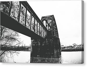 Railroad Over The Red River Canvas Print by Scott Pellegrin