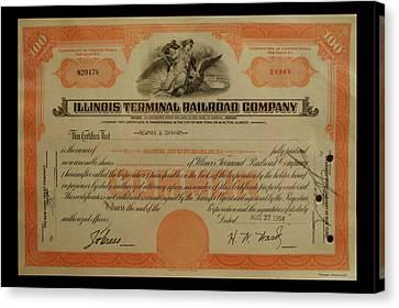 Railroad Stocks Illinois Terminal Railroad Canvas Print by Thomas Woolworth