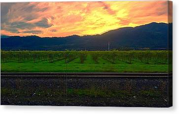 Railroad Sunset Canvas Print by Cadence Spalding