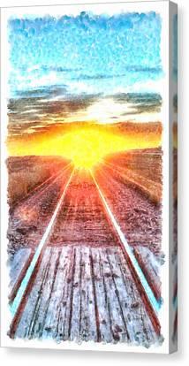 Railroad To Sun Canvas Print by Leonardo Digenio