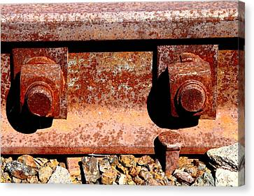 Railroad Track Nuts Bolts Spikes . 7d12683 Canvas Print by Wingsdomain Art and Photography