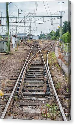 Canvas Print featuring the photograph Railroad Tracks And Junctions by Antony McAulay
