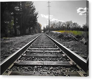 Railroad Tracks Bw Canvas Print