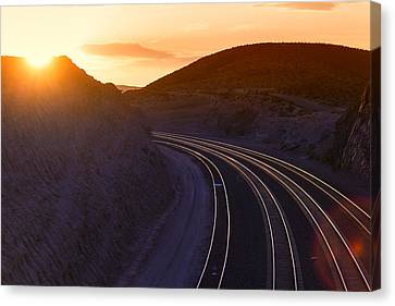 Railroad Tracks Sunset Canvas Print by Garry Gay