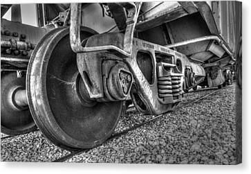 Railroad Truck Black And White Canvas Print by TL  Mair