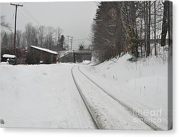 Canvas Print featuring the photograph Rails In Snow by John Black