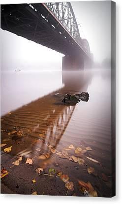 Railway Bridge During Foggy Morning In Prague, Czech Republic Canvas Print