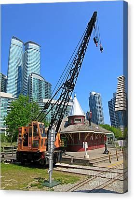 Railway Crane At Roundhouse Park Toronto Canvas Print by John Malone