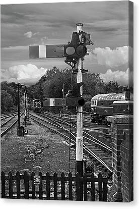 Rail Siding Canvas Print - Railway Signals In Black And White by Gill Billington