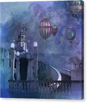 Canvas Print featuring the digital art Rain And Balloons At Hearst Castle by Jeff Burgess