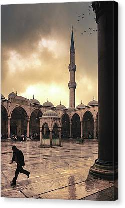 Rain At The Blue Mosque Canvas Print by Marji Lang