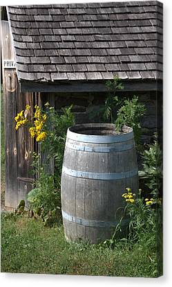 Rain Barrel Canvas Print - Rain Barrel by Valerie Kirkwood
