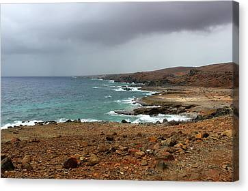Rain Clouds Brewing Off The Coast Of Island Of Aruba Canvas Print by Design Turnpike