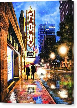 Rain Falling On Peachtree Street - Atlanta Canvas Print