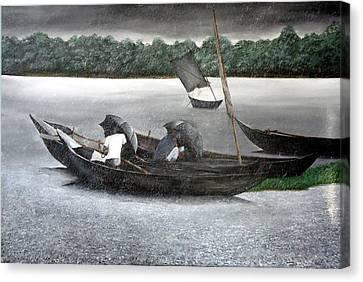Rain In Bangladesh- An Acrylic Painting Canvas Print by Fahad Hossain