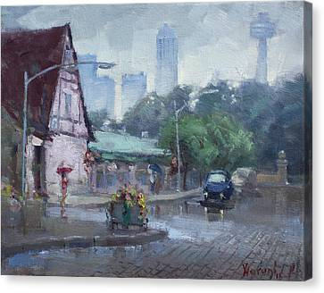 Rainy Day Canvas Print - Rain In Old Falls Street by Ylli Haruni