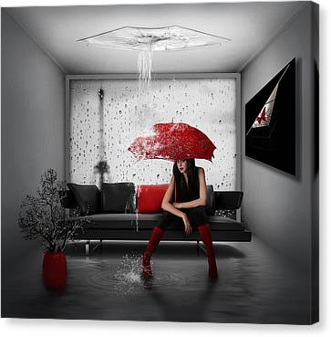 Rain In Paris Canvas Print by Nataliorion