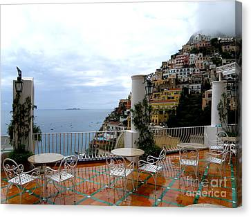 Canvas Print featuring the photograph Rain In Positano by Tanya  Searcy