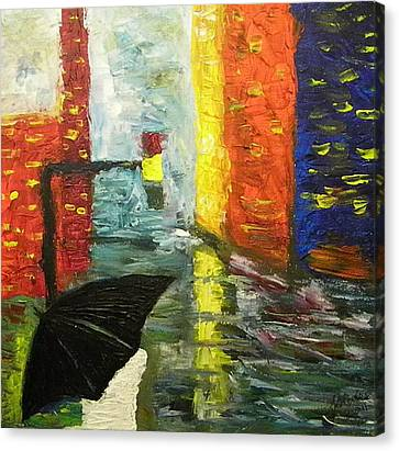 Rain In The City Canvas Print by Carmen Kolcsar