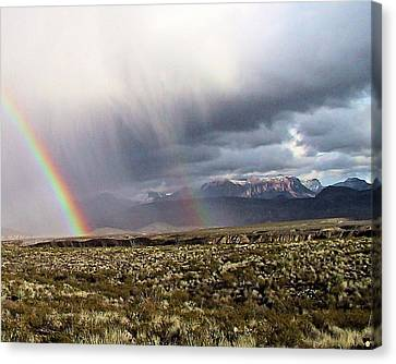 Canvas Print featuring the painting Rain In The Desert by Dennis Ciscel