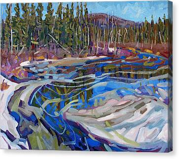 Snow Melt Canvas Print - Rain Lake Marsh by Phil Chadwick