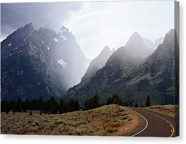 Rain On Grand Teton 2 Canvas Print by Marty Koch